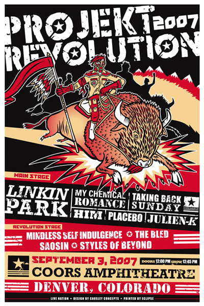 Projeckt Revolution 2007: Linkin Park, My Chemical Romance, Taking Back Sunday, HIM, Placebo и Julien-K. Концерт прошёл 3 сентября 2007го в Денвере штат Колорадо